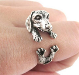 Wholesale LBS Vintage French dachshund dog rings Dachshund Dog jewerly Gun Black Antique Silver Antique Bronze Sausage Dog Ring