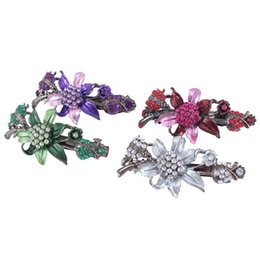 Wholesale 4 Color Diamond Mosaic Buckle Test Clamp Mature And Elegant Woman Rhinestone Crystal Jewelry Hair Beauty Dance Party Accessories