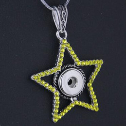 five star with yellow rhinestone DIY 12mm Alloy Pendant necklace 12MM NOOSA chunks snap button jewelry Holand snap button drop shipping