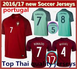 Wholesale Top Thai Portugal Soccer jerseys RONALDO NANI QUARESMA PEPE GUERREIRO Euro Cup Portugal Men s Football Shirts