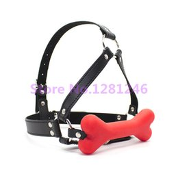 Dog Bone Harness Stick Gag,Silicone&Leather Open Mouth Gag,Sex Bondage, Dog Play Bedroom Game,Sex Toys