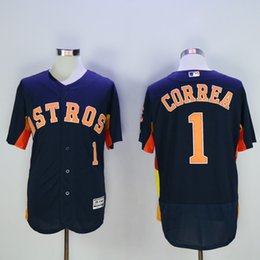 Wholesale Houston Astros Jersey Mens Carlos Correa Navy Blue Flexbase Collection Baseball Jersey Stitched Name Number and Logos