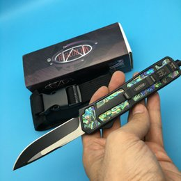 Wholesale Microtech Golden Ant Laser profiling Double Edge camping tool pocket tool survival knife knives with nylon bag A162
