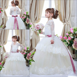 2017 Cheap Ball Gown Flower Girl's Dresses with Long Sleeves Lace Applique First Communion Dresses Sheer Neck Princess Little Girls Dresses