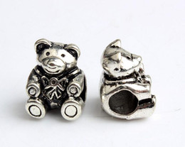 HYWo free shipping silver blue teddy bear european big hole bead CHARM Fit European Pandora Charm Bracelets wholesale