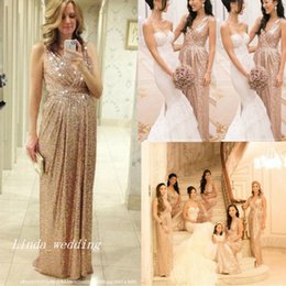 Rose Gold Sparkly Sequins Bridesmaid Dress Popular A-Line V-neck Floor Length Long Maid of Honor Wedding Party Gown