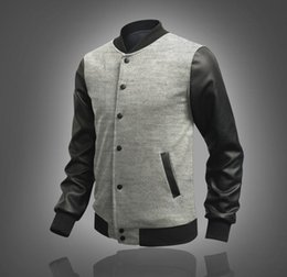 2017 coton ouaté korean veste de baseball 2015 Automne coréenne nouvelle arrivée outwear mode veste Splice chandail d'hommes Baseball Hoodies de manteau des hommes en noir pour hommes coton ouaté korean veste de baseball promotion