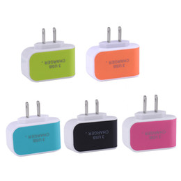 Wholesale Candy USB charger A LED Adapter Travel Convenient Power Adaptor with triple USB Ports For Mobile Phone