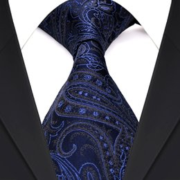 F21 Wholesale Paisley Navy Blue Multicolor Mens Ties Neckties 100% Silk Jacquard Woven Suit Gift For Men