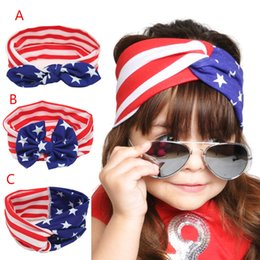 Wholesale NEW Design American Flag headband knotted cotton baby headbands with hair bow ladies headbands sports headbands for girls