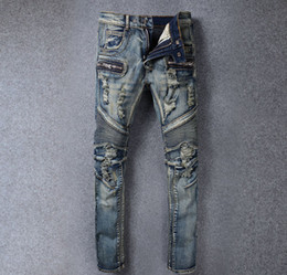 Wholesale 2016 NEW Balmain Brand en s casual holes ripped biker jeans Large size slim stretch denim pencil pants Motorcycle long trousers