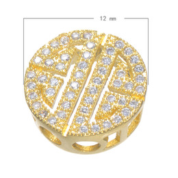 925 Silver Style CZ Micro Pave Brass Beads Flat Plated More Colors For Choice 12mm Hole:Approx 2.5mm 10 PCs Lot