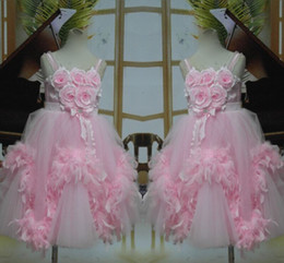 Spaghetti Pink Handmade Flower Girls Pageant Dresses 2016 100% Real Photo Ball Gown Children Birthday Party Dress For Wedding