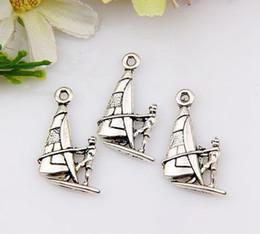Wholesale Hot Antique Silver Zinc Alloy boat charm pendants x14mm DIY Jewelry