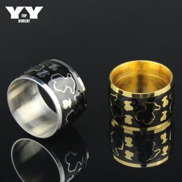 Hight quality 316L stainless steel plated yellow gold and silver color ball rings women ring animal bear pattern black luxury bear rings