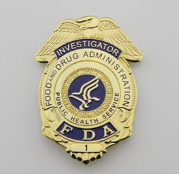 Wholesale Replica police cop metal badge high quality US FDA food and d r u g administration investigator Replica metal badge public health service