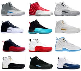 2017 air retro 12 basketball shoes man women ovo white GS Barons White Black wolf Grey flu game taxi playoffs french blue Sneakers