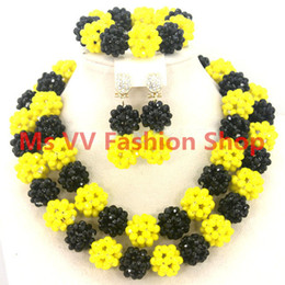 latest design beads necklace Sharp Yellow Black African Costume Jewelry Set Indian Bridal Jewelry Set Nigerian Wedding Crystal Beads