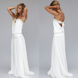 Beach Wedding Dresses 2016 Vintage Chiffon Strapless Lace Ribbon Dropped Waist Backless Long Boho Bridal Gowns 1920s Custom Made EN4151