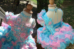 Wholesale Sleeveless Mini Ball Gown - Colorful Crystal Beaded Organza Short Sleeve Infant Toddler Cupcake Ruffles Layered Hand Made Flower Little Girls Pageant Dresses