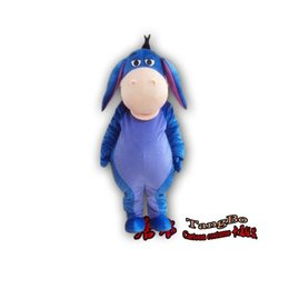 High quality blue donkey mascot cartoon doll clothing adult size high quality plush cloth as fashion free shipping