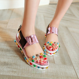 2016 Large small size 31-42 high wedge heel platform color rivets open toes patent leather buckle strap lady casual shoes women sandals 5568
