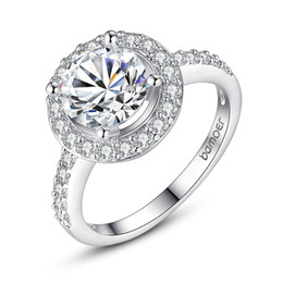 18K Plated White Gold Ring With Carat CZ Diamond 1CM Luxury Wedding Engagement Halo Ring for Women Size 6-9