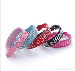 Wholesale Leather Dog Collars Crystals Leather Dog Collars Pet Supplies Rhinestone Cute Pet Collars Diamante Dog Collars Pet Products High Quality