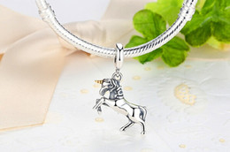 925 Sterling Silver Unicorn European Charms Bead Fit Pandora Snake Chain Bracelets Bangles DIY Jewelry Beads