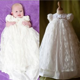 Wholesale Delicate White Lace Christening Dresses For Infant Girl Jewel Neckline Sleeves Long Baby Girls Clothings First Communion Gowns