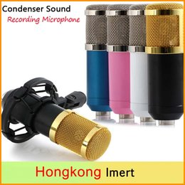 Wholesale New Recording Microphones Professional Condenser Microphones with Shock Mount for Radio Braodcasting Singing with mm Audio Cable