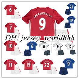 Wholesale 16 kids red home away blue soccer Jersey Kits Ibrahimovic MATA MARTIAL ROONEY POGBA RASHFORD RD white child youth Football Shirt