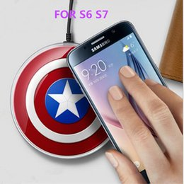 Wholesale Qi Wireless Charger charging pad US AX Captain American Avengers Edition quick dock charger mat For SAMSUNG Galaxy S6 S7 DHL
