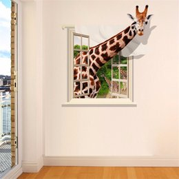 Wholesale DIY Cartoon D Giraffe Wall Sticker For The Babys Room Removable PVC Cute Lovely Decorativos Pegatinas De Pared Wallpaper