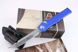 Wholesale Microtech ap HALO V T E Knife D2 High speed Steel Blade T651 Aluminum alloy Handle with Kydex Sheath Original package blue hand