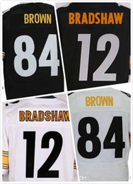 Wholesale Antonio Brown Jersey Terry Bradshaw Jersey Mens Elite Full Stitched Jerseys Embroidery Logo Black White Size S XL