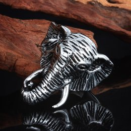 Wholesale Size L Stainless Steel Cool Elephant Biker Band Rings Jewelry For Men Gothic Cool Ring