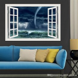 Wholesale 3D Window Scenery Wall Sticker Home Decor Decals Tornado Decals Amazing Nature PVC Wall Papers Home Decor Living Room Wall Art x28inch