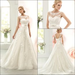 2016 Vintage Ivory Lace Wedding Dresses Cap Sleeves Tulle Lace Applique Illusion A-line Bridal Gowns Lace Up Back