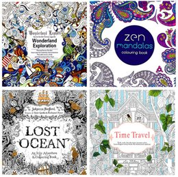 Newest 4 style Coloring Books Relieve Stress Books Lost Ocean, Zen Mandalas, Time Travel Wonderland Exploration