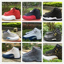 Air en cuir libre à vendre-2016 Cheap Sale 12 rétro rouge Gym gris noir Basketball chaussures en cuir Airs 12s Sport Training Sneakers taille 8-13 Livraison gratuite