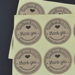 Wholesale Factory direct Round cm Kraft Seal Sticker Thank you Hand made with love Especially for you design