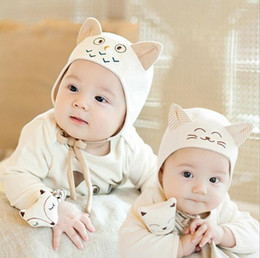 Wholesale Newborn Baby Hat Cartoon Cat Owl Embroidery Caps Cute Toddler hat Children Hair Accessories styles for months baby