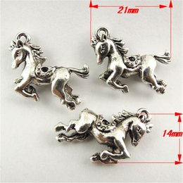 35PCS Antique Style Silver Tone Cute Running Horse Alloy Pendant 21*14*5MM jewelry making