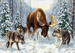 Wolf and deer patchwork Diy diamond sticker square diamond painting rhinestone pasted painting diamond 70x50cm LB-058
