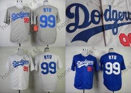 Wholesale 2016 Hyun Jin Ryu Jersey Stitched White Blue Grey Cool Base Dodgers