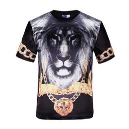 tshirt Classic Fashion T-shirt men tops short sleeve 3d print animals gold medal lion king glossy rayon t-shirt