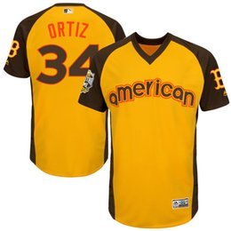 Wholesale Mens Boston Red Sox David Ortiz Majestic Yellow Baseball All Star Game Cool Base Batting Practice Player Jersey
