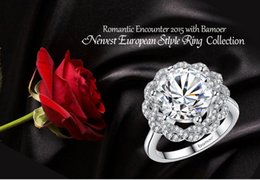 New Arrival Shinning Cubic Zirconia Round Shape Created Diamond High Quality Platinum Plated Wedding Engagement & Gift Finger Ring