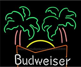 """Budweiser Palm Tree Neon Sign Custom Handcrafted Real Glass Tube Beer Bar KTV Pub Store Club Advertise Display Decoration Neon Signs 24""""x20"""""""